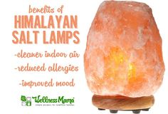 Using a himalayan salt lamp can create negative ions in the air which reduce indoor air pollution, allergens and improves mood & sleep, and reduces stress.