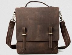 Image of Handmade Genuine Crazy Horse Leather Briefcase / Satchel / Messenger Bag / Ipad Bag