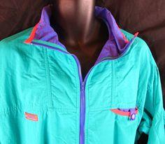 Columbia Men's Windbreaker Jacket Vintage Wind Coat M 1990s Turquoise Medium #Columbia #Windbreaker