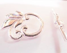 10sets Silver Leaf Toggle Clasps 19x25mm Loop DIY by FireSwanBeads $8.45