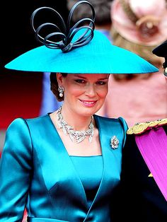 Credit: Tim Rooke/REX/REX USA; Princess Mathilde of Belgium rocking the teal (not to mention the jewels)