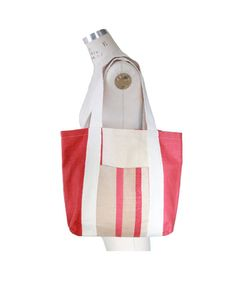 Cream and Red Canvas Tote by Scrapcycling on Etsy