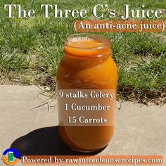 The three C's Juice Recipe (An anti-acne juice). This juice recipe for acne uses ingredients that have been shown to be helpful for those who suffer from acne. It's delicious, and there is plenty more info about juicing for acne as well as more juicing recipes in the article.