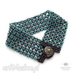 bransoletka w szaro niebieskie kwiatuszki, łączka, koraliki,
