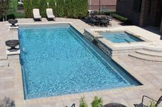 rectangle pool with water feature - Google Search