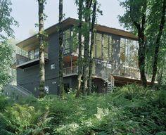 Casa de montaña en medio del bosque