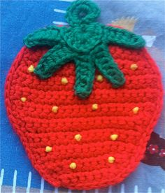 Crocheted Strawberry Pot Holder by lishyloo on Etsy, $7.00