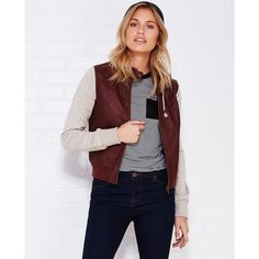 Ambiance Apparel  Fleece-Sleeve Faux Leather Bomber Jacket ($37) ❤ liked on Polyvore featuring outerwear, jackets, burgundy, wet seal, faux leather jacket, fleece lined bomber jacket, bomber style jacket, burgundy jacket and fleece jacket