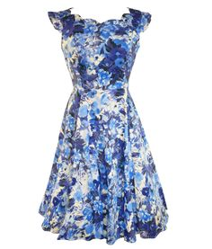 HR London 50's Summer Floral Dress in Blue | Tiger Milly