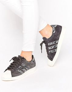 Buy it now. adidas Originals Black Superstar Trainers With Faux Snake Detail - Black. Trainers by Adidas, Leather upper, Lace-up fastening, Branded cuff, Faux snake-print detailing, Three stripe design, Chunky sole, Textured tread, Treat With A Suitable Leather Protector, 50% Suede, 50% Other Materials. ABOUT ADIDAS Founded more than 60 years ago, Adidas is one of the most iconic streetwear brands in the world. Its unparalleled ability to fuse fashion and function is evident in its sleek…