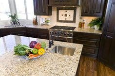 Kitchen With New Venetian Gold Granite Countertops Design Ideas, Pictures, Remodel, and Decor - page 3