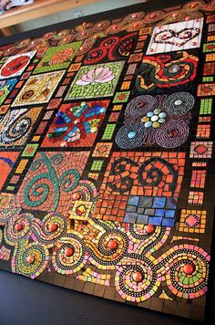 "mosaic art - Would love to use this ""sampler"" type design in garden or patio."