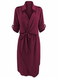Bow Belt Work Casual Solid Color Lapel Women Shirt Dress