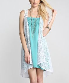 Love this White Sheer Floral Lace Long Vest by Flying Tomato on #zulily! #zulilyfinds