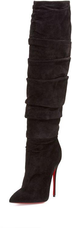 5e4d7fa82c Christian Louboutin Ishtar Botta Ruched Suede Red Sole Boot. Women's  fashion. #winterfashion #
