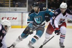 Worcester Sharks rookie forward Eriah Hayes puts on the brakes (Feb. 16, 2014).
