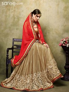 Superb Red and Beige Satin Saree...!!!!