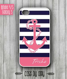 Stripe pattern anchor Personalized case for iPhone 4/4s, iPhone 5, Samsung Galaxy S3 - Nautical iphone case, galaxy 3 hard case - $16.80  at http://casebyamy.etsy.com
