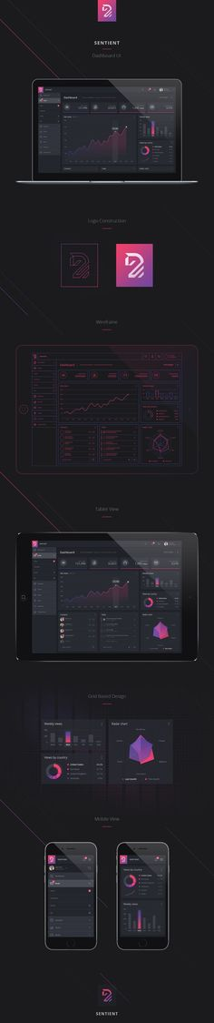 Mobile app and dashboard UI design for statistics, analytics. Mockup of iphone and macbook showcase design. Design using Photoshop PSD