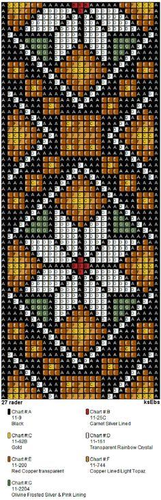 Bunad, Smykker, vev & rosemaling: Nytt sett med perlemønster i gyldne toner. Seed Bead Patterns, Peyote Patterns, Weaving Patterns, Cross Stitch Patterns, Bead Loom Bracelets, Beaded Bracelet Patterns, Jewelry Patterns, Pixel Crochet, Bead Crochet