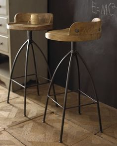 Horchow wood and iron barstool