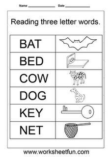 3 Letter Words For Pre K.21 Best Worksheets Images Worksheets Kindergarten