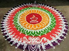 Easy Rangoli Designs Diwali, Indian Rangoli Designs, Rangoli Designs Latest, Simple Rangoli Designs Images, Free Hand Rangoli Design, Small Rangoli Design, Rangoli Border Designs, Rangoli Ideas, Colorful Rangoli Designs