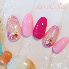 love those pink and red warm tone color summer nails - かわいいネイルを見つけたよ♪ #nailbook