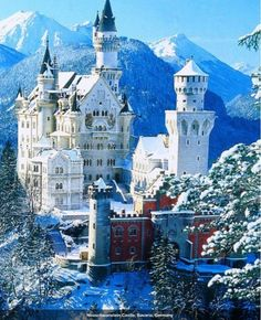 German castle with a beautiful mountain view