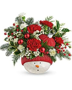 Christmas Flowers Delivery Louisa KY - Farmhouse Memories Christmas Flower Arrangements, Christmas Flowers, Winter Flowers, Christmas Fun, Christmas Wreaths, Christmas Decorations, Holiday Decor, White Spray Roses, Flowers Today