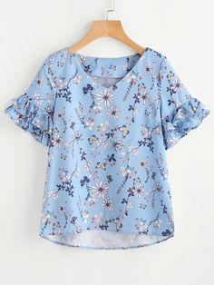 SheIn offers Layered Ruffle Sleeve Stepped Hem Botanical Top & more to fit your fashionable needs. Kurta Designs, Blouse Designs, Mode Outfits, Casual Outfits, Diy Clothes, Clothes For Women, Blouse Styles, Ruffle Sleeve, Casual Tops