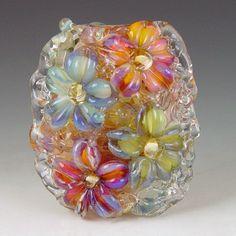 Blossoms   1 boro/ borosilicate glass bead by redsidedesigns, $30.00