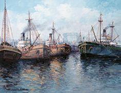 "Severino García Bravo, ""Riachuelo boquense"" óleo sobre tabla, 40 x 50 cm. N° 1331"