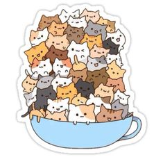 Count how many times to do it by how many cats there are in the cup! )A cup of strong catachino.) And some kawaii neko atsume kitties! Chat Kawaii, Kawaii Cat, Kawaii Shop, Kawaii Stuff, Kawaii Things, I Love Cats, Crazy Cats, Gato Pusheen, Cute Cups