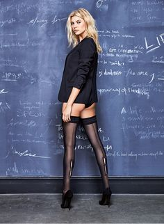 Model Kelly Rohrbach is not wearing your grandmother's hosiery. Tapped for Italian brand Calzedonia's fall-winter 2016 catalog, the blonde beauty serves legs… Hottest Female Celebrities, Celebs, Gq, Kelly Rohrbach, Sheer Tights, Alexandra Daddario, Blonde Beauty, In Pantyhose, Mannequins