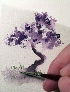 Watercolor Bonsai Tree