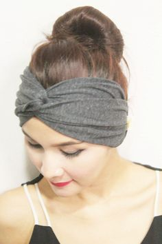 Twist Turban Headband , Modern Fashion Hair wrap, Elastic,Heather Grey Plain Color Style