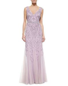 Sleeveless V-Neck Sequined & Beaded Godet Gown by Aidan Mattox at Neiman Marcus.