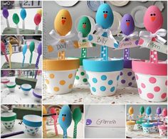 Easter Plastic Spoon Chicks Name Place Holders
