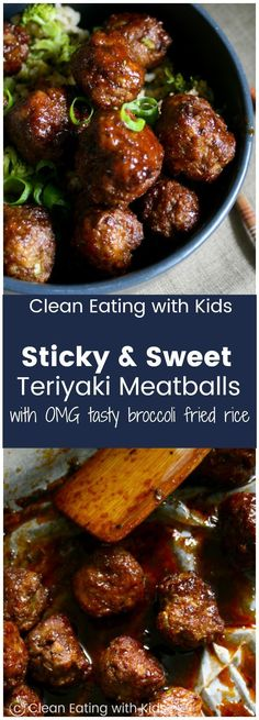 Sticky Teriyaki Meatballs with Broccoli Fried Rice Sweet amp; Sticky Teriyaki Meatballs piled on top of a really yummy broccoli fried rice. Sticky Teriyaki Meatballs piled on top of a really yummy broccoli fried rice. Meatball Recipes, Meat Recipes, Asian Recipes, Healthy Dinner Recipes, Cooking Recipes, Recipies, Meatball Dish, Meatball Meals, Healthy Suppers