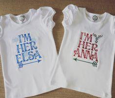 I'm her Elsa, I'm her Anna shirts/onesies, Elsa and Anna, Else shirt, Anna shirt, Elsa onesie, Anna Onesie by MacsMonogramming on Etsy