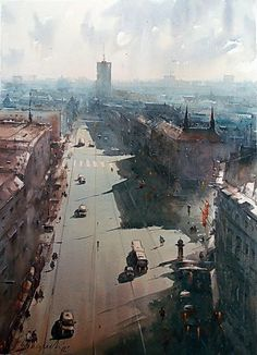 Dusan Djukaric View on Terazije, watercolor, 54x74 cm