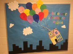 Up inspired bulliten board Infant Bulletin Board, Preschool Bulletin Boards, Classroom Board, Classroom Bulletin Boards, Display Boards For School, School Displays, Preschool Lesson Plans, Preschool Ideas, Ra Themes