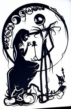 Nightmare Before Christmas Jack and Sally Desenhos Tim Burton, Jack Und Sally, Papercut Art, Nightmare Before Christmas Tattoo, Illustration, Kirigami, Jack Skellington, Disney Art, Nightmare Before Christmas
