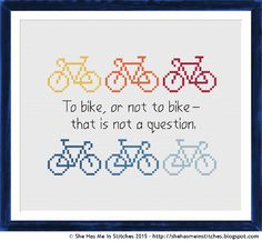 Show your love for cycling with this fun cross stitch design.       This design uses the DMC colours 310, 743, 721, 321, 825, 826 and 813. I...