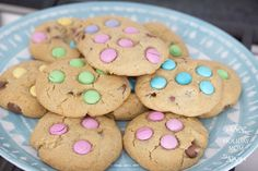 Easter M&M Chocolate Chip Cookies. Find more at holidaymom.com