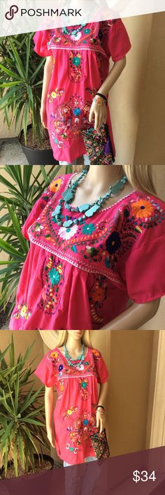 New Hand Embroidered Mexican Dress Tunic Pink Med Brand new, imported from Mexico, made in Chiapas, Santa Maria region by native artisans, 100% Handmade, see last photo to appreciate the back of the dress. Size Medium. Lightweight fabric, fresh, comfy. More color available. Ask for wholesale prices if interested in mexican artsy items like handbags, wallets, clothing, shoes, etc. Cielito Lindo Tops Tunics