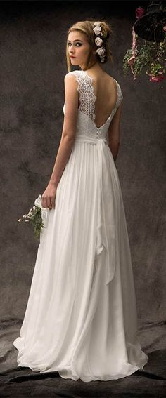 40 Deep V Open Back Wedding Dresses Ideas 23 – Style Female Open Back Wedding Dress, Weeding Dress, Dream Wedding Dresses, Boho Wedding, Wedding Gowns, Wedding Vintage, Irish Wedding, Vintage Lace, Vintage Bohemian