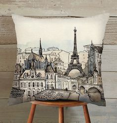 paris eiffel tower Suede Pillow Cover handmade by hellominky