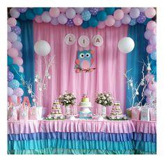 Cumpleaños de Buho                                                                                                                                                      Más Owl Parties, Owl Birthday Parties, Baby Girl Birthday, 7th Birthday, Owl 1st Birthdays, Girls Party Decorations, Elephant Baby Showers, Barbie, Baby Owls